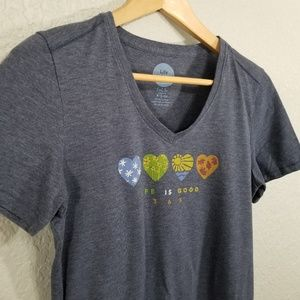 Life Is Good Tops - Life is Good 365 Hearts Classic Fit Cool Tee Sz S